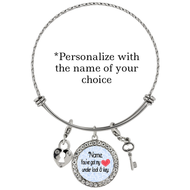 You've Got My Heart Under Lock and Key - Personalized Custom Bracelet - Memorable Treasures Gift of Love for Family and Friends