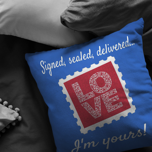 "Pillows Multi I'm Yours! ""Love Stamp"" Pillow - Memorable Treasures"