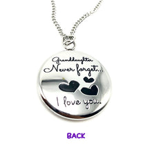 Load image into Gallery viewer, Necklace Granddaughter Never Forget That I Love You - Reversible Heart Pendant Gift - Memorable Treasures