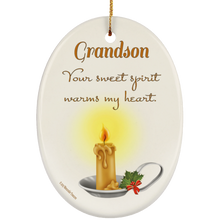 Load image into Gallery viewer, Housewares Grandson, Your Sweet Spirit Warms My Heart - Ornament - Memorable Treasures