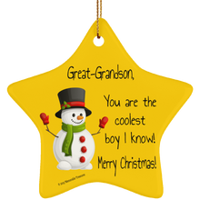 Load image into Gallery viewer, Housewares Great-Grandson, You Are the Coolest Boy I Know Ornament - Memorable Treasures