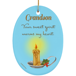 Housewares Grandson, Your Sweet Spirit Warms My Heart - Ornament - Memorable Treasures