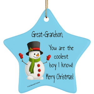 Great-Grandson, You Are the Coolest Boy I Know Ornament