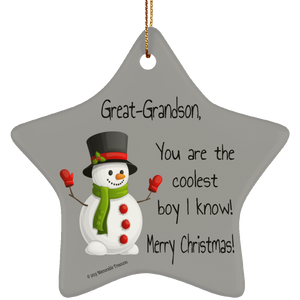 Housewares Great-Grandson, You Are the Coolest Boy I Know Ornament - Memorable Treasures