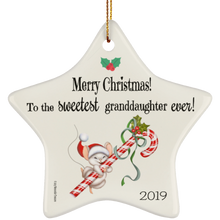Load image into Gallery viewer, Housewares Sweetest Granddaughter Ever! - Ornament - Memorable Treasures