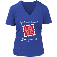 "Load image into Gallery viewer, I'm Yours! ""Love Stamp"" Women's Tee-Shirt - Memorable Treasures Gift of Love for Family and Friends"