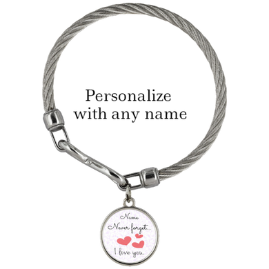 Never Forget I Love You, Personalized Wickford Bracelet - Memorable Treasures Gift of Love for Family and Friends