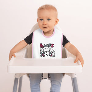 Hugs and Kisses - Embroidered Baby Bib - Memorable Treasures