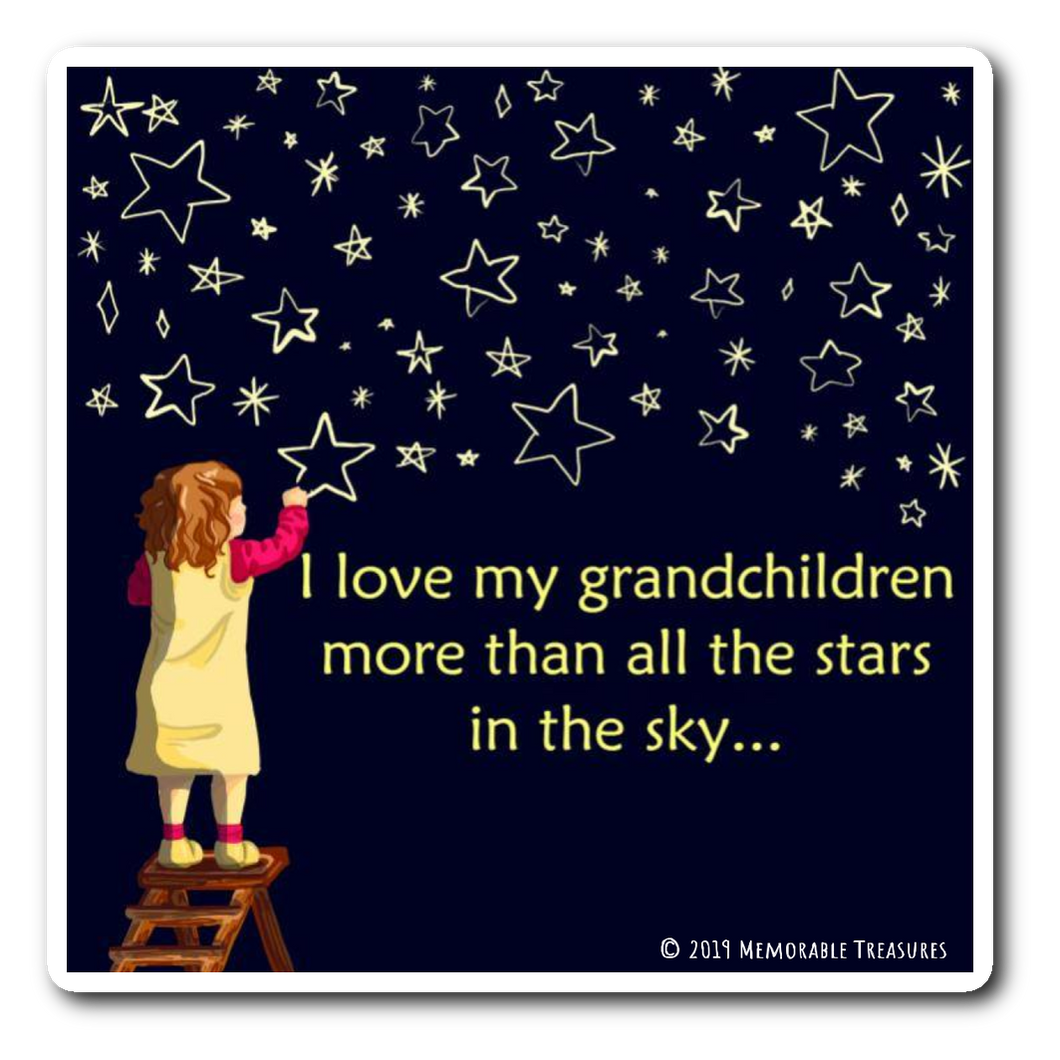 I Love My Grandchildren MoreThan All the Stars in the Sky... - Decal, Sticker - Memorable Treasures Gift of Love for Family and Friends