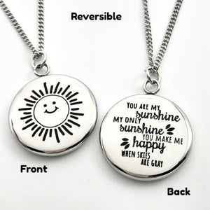 Necklace You Are My Sunshine - Reversible Pendant Gift - Memorable Treasures