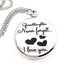 Necklace Granddaughter Never Forget That I Love You - Reversible Heart Pendant Gift - Memorable Treasures
