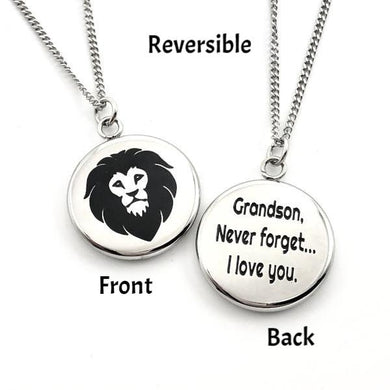 Necklace Grandson Never Forget That I Love You - Reversible Lion Pendant Gift - Memorable Treasures