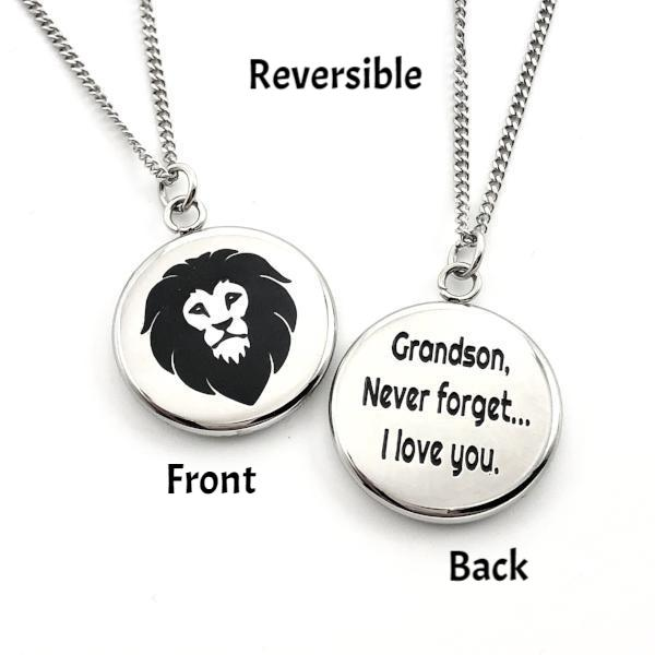 Grandson Never Forget That I Love You - Reversible Lion Pendant Gift