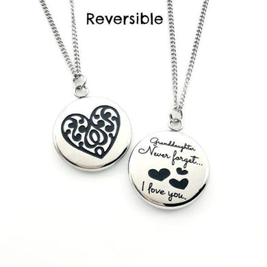 Granddaughter Never Forget That I Love You - Reversible Heart Pendant Gift - Memorable Treasures Gift of Love for Family and Friends