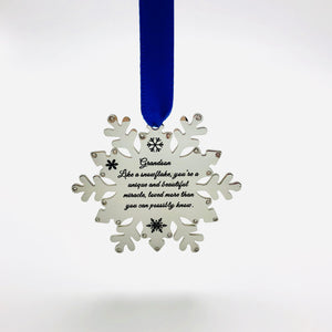 Housewares Grandson, Like a Snowflake, You're a Unique and Beautiful Miracle - Ornament - Memorable Treasures