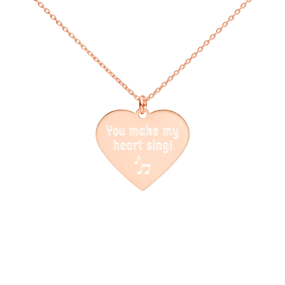 You Make My Heart Sing - Engraved Silver Heart Necklace - Memorable Treasures