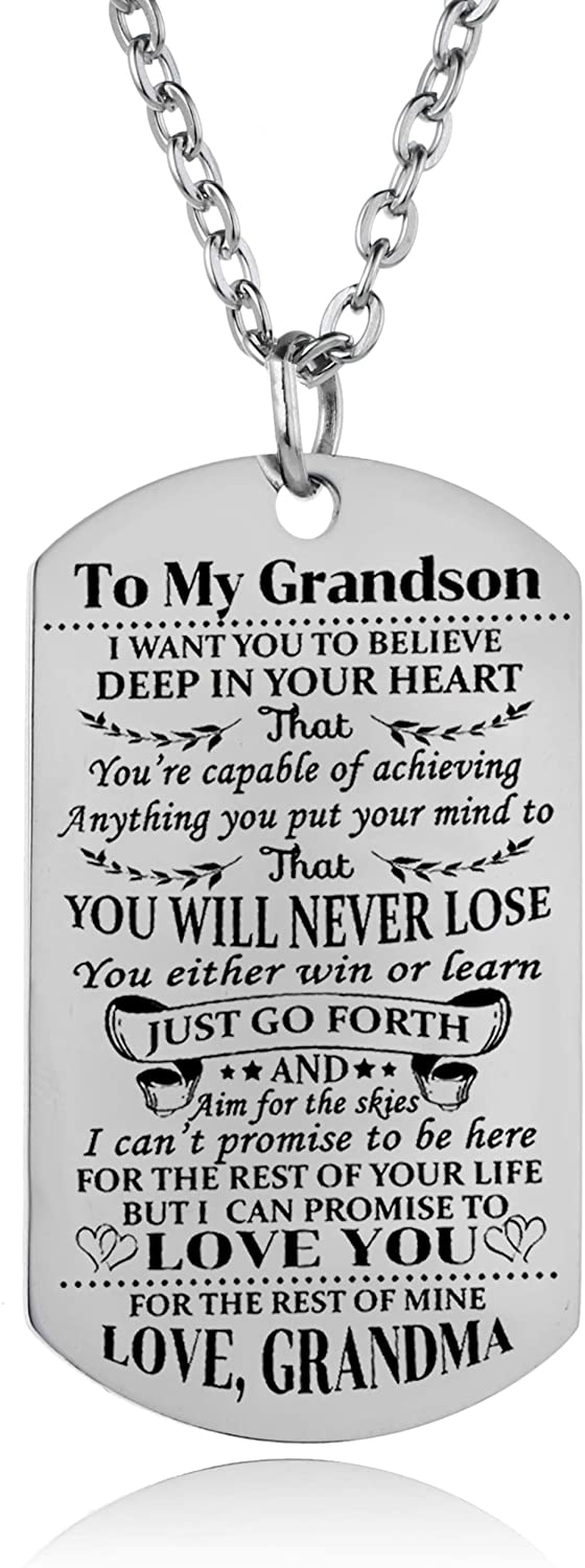 necklace Grandson Dog Tag Believe Inspirational Gift from Grandmother - Necklace - Memorable Treasures