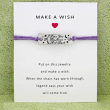 Load image into Gallery viewer, I Love You to the Moon and Back Star Charm Card Bracelets Purple Yellow Wax Cord Women Men Girl Boy Jewelry Gift Drop Shipping - Memorable Treasures