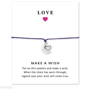 I Love You to the Moon and Back Star Charm Card Bracelets Purple Yellow Wax Cord Women Men Girl Boy Jewelry Gift Drop Shipping - Memorable Treasures