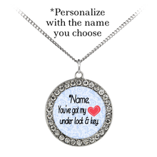 Load image into Gallery viewer, You've Got My Heart Under Lock and Key - Personalized Custom Necklace - Memorable Treasures Gift of Love for Family and Friends
