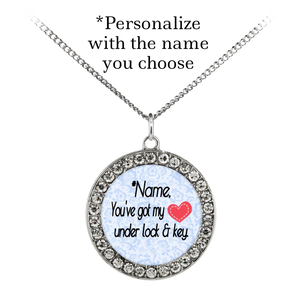 In Your Own Words You've Got My Heart Under Lock and Key - Personalized Custom Necklace - Memorable Treasures