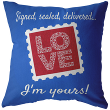 "Load image into Gallery viewer, Pillows Multi I'm Yours! ""Love Stamp"" Pillow - Memorable Treasures"
