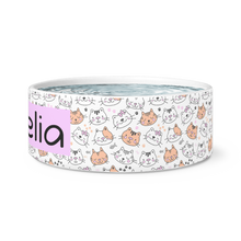 Load image into Gallery viewer, Dog Bowls Kitty Love Personalized Cat Dish - Memorable Treasures