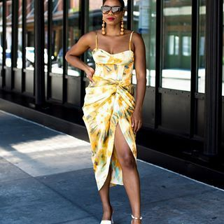 Fashion & Style Influencer Monroe Steele wearing tie-dye wrap dress