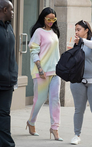 Rihanna photoed in a pastel tie-dye jogger set