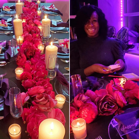 Intimate table setting with pink flowers and candles