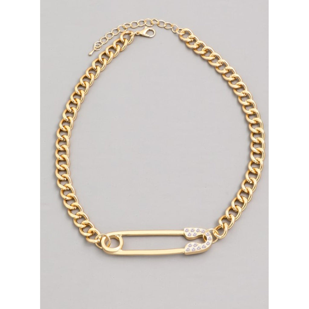 Safety Pin Chain Necklace (Gold and Silver Available)