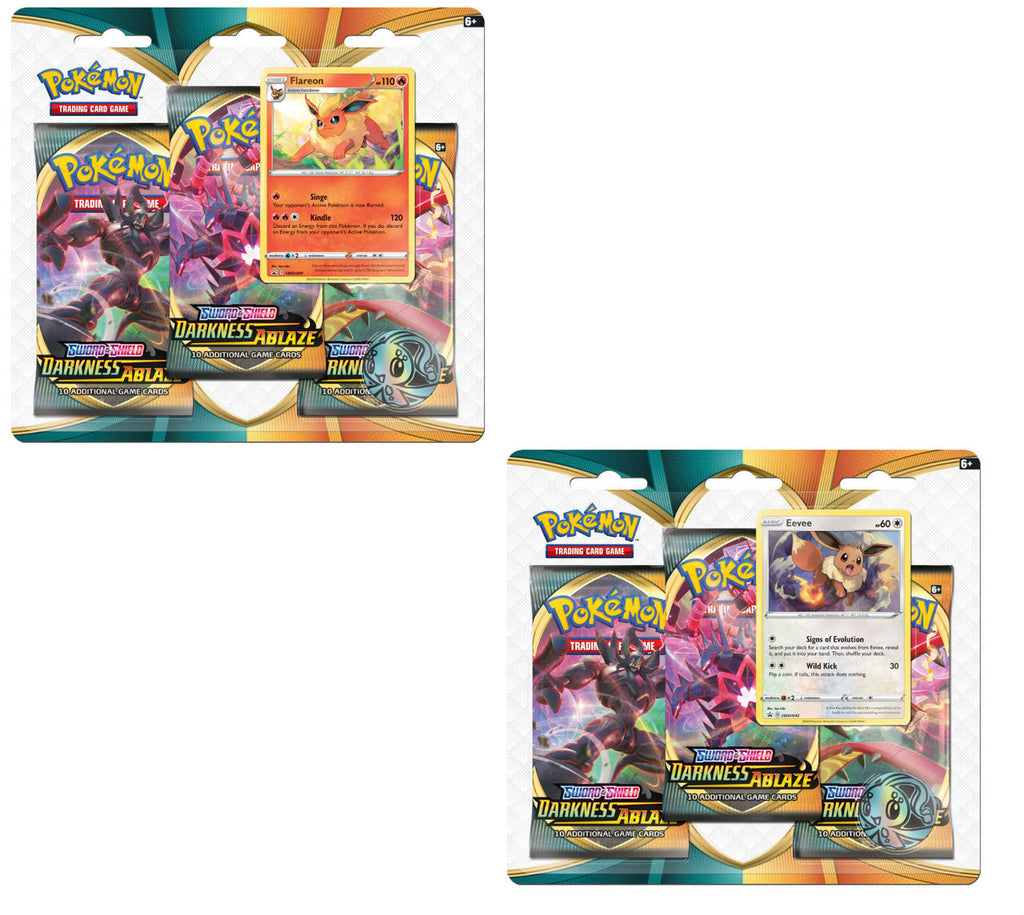 POKEMON 3 Pack Blister : Flareon - Sword and Shield Darkness Ablaze