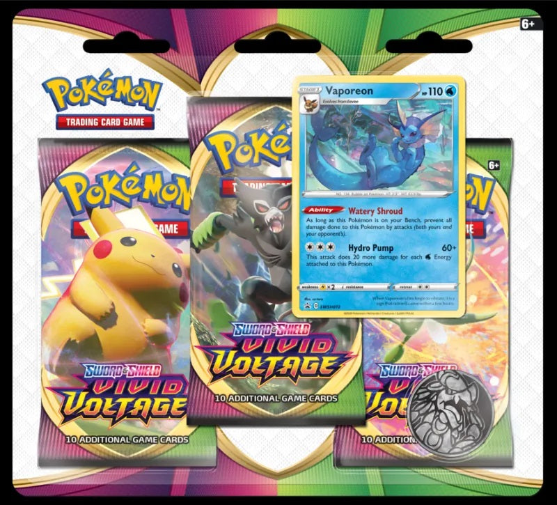 Pokemon - Sword & Shield - Vivid Voltage - 3 Pack Blister -  Vaporeon