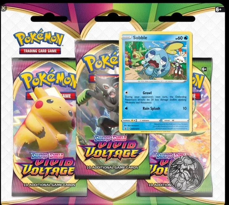 Pokemon - Sword & Shield - Vivid Voltage - 3 Pack Blister - Sobble