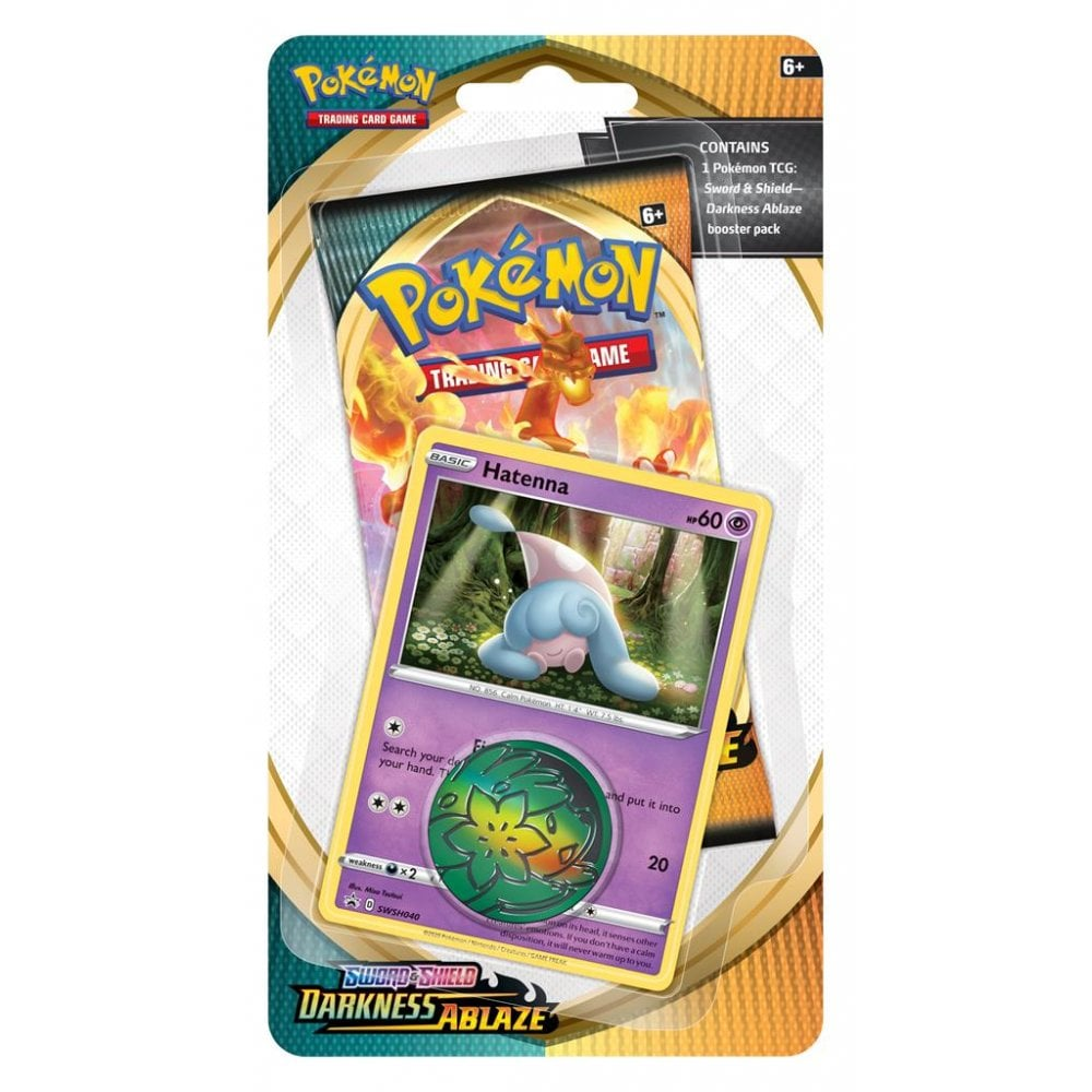 POKEMON Checklane Blister Pack (1 Pack with holo) : Hatenna - Sword and Shield Darkness Ablaze