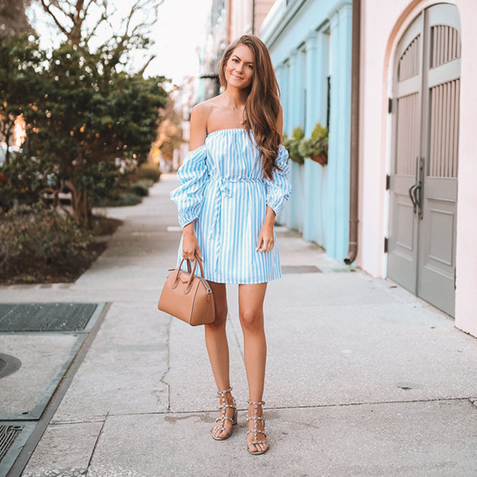Blue Striped Dress Bow Bandage