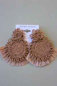 Fall Mum Earrings- Tan