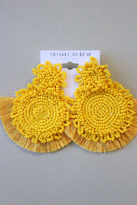 Fall Mum Earrings- Mustard