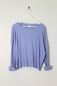 Grayson Long Sleeve Waffle Tee- Periwinkle