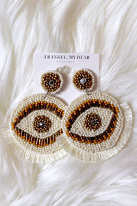 Eye of the Tiger Beaded Earrings- Ivory