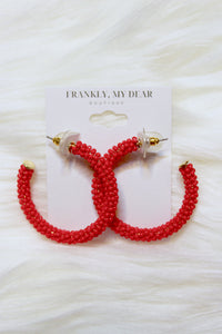 To the Bead Hoop Earrings- Red
