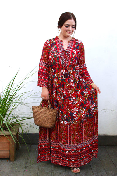 Off to Market Maxi Dress- Red