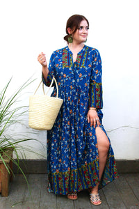 Off to Market Maxi Dress- Blue