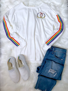 Kacey Rainbow Sleeve Sweatshirt