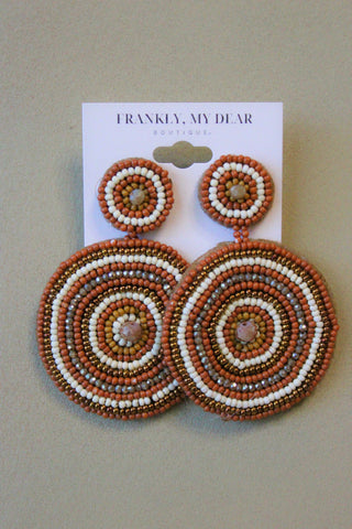 Round and Round Earrings- Brown