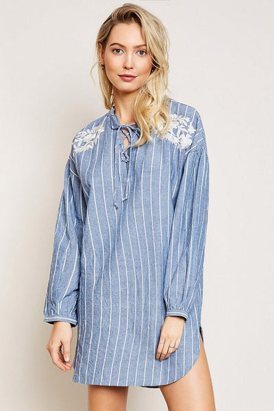 Denim Daze Embroidered Dress