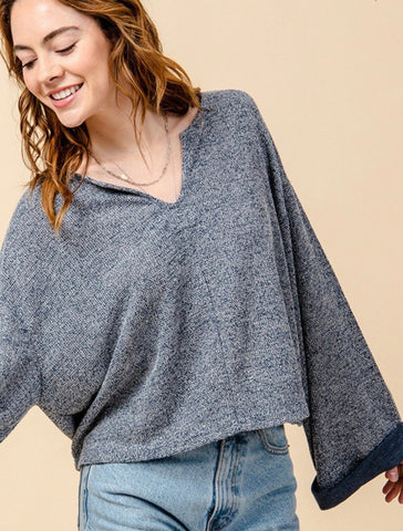 Perfect Notch Sweater- Blue