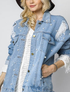Light Wash Pearl Denim Jacket