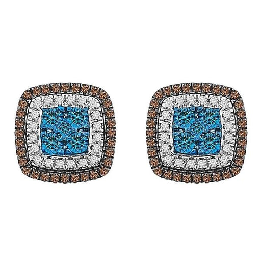 LADIES EARRINGS 3/4 CT WHITE/BLUE/CHOCOLATE ROUND DIAMOND 10K ROSE GOLD
