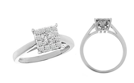 LADIES RING 1/2 CT PRINCESS/ROUND DIAMOND 14K WHITE GOLD